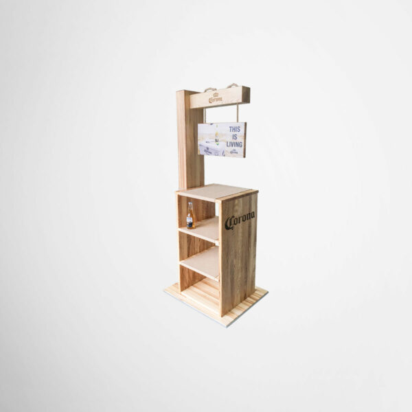 Wooden retail display for Corona by Framme