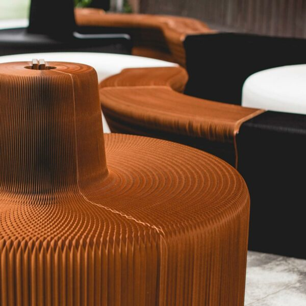 Flexible paper chairs and sofas