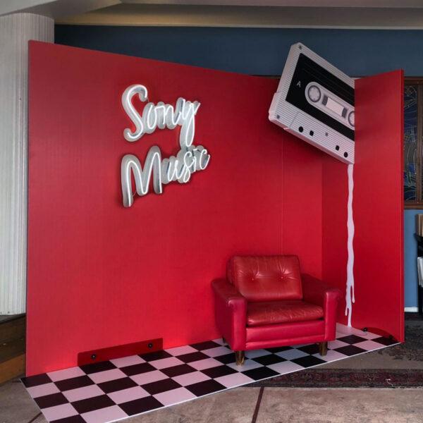 Sony Music Finland custom made photobooth wall by Framme and Mellakka Helsinki