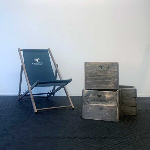 Ramsbury deck chair with rustic branded crates