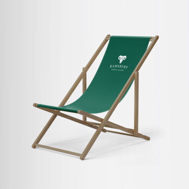 Customised and branded high-quality deck chair for Ramsbury Distillery by Framme
