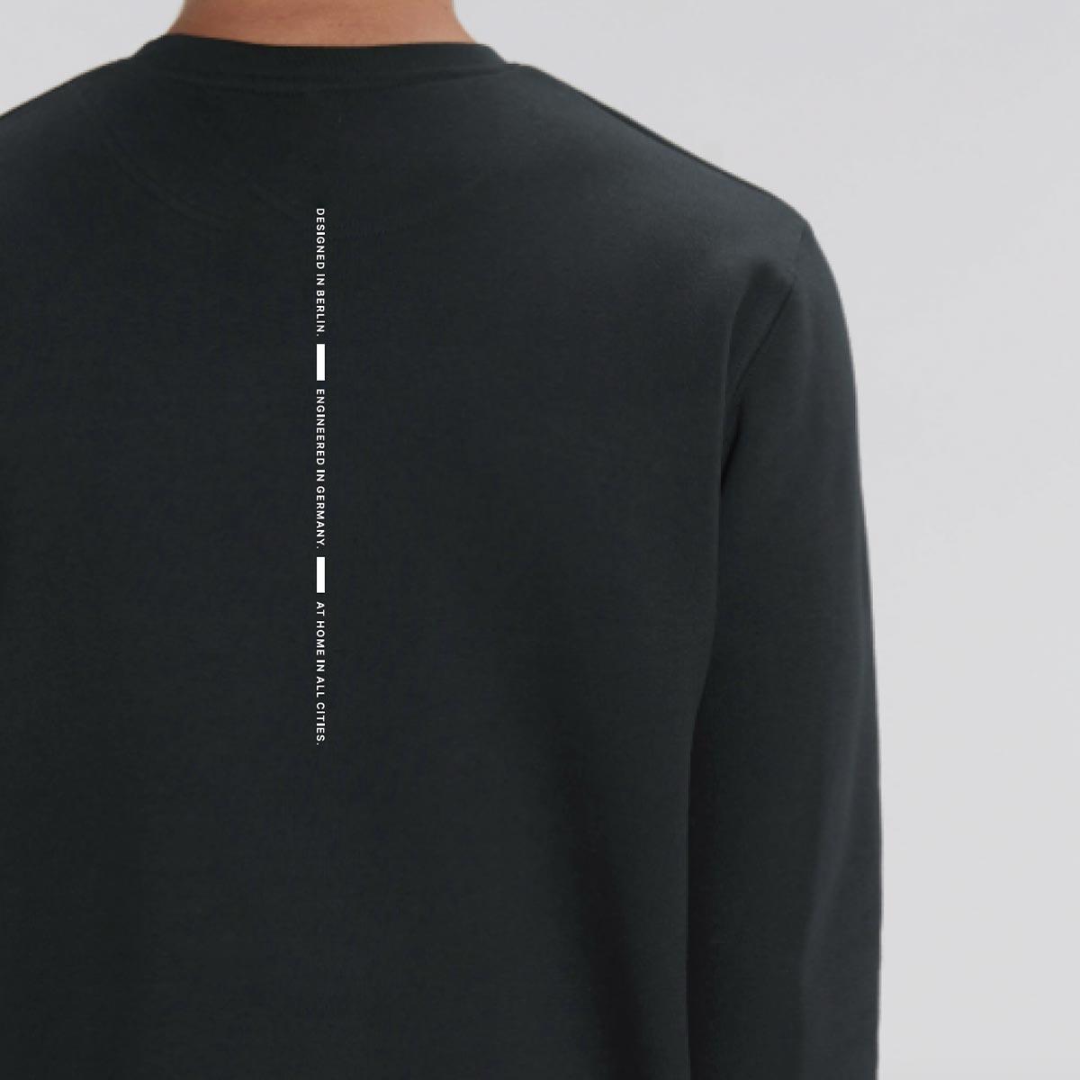 Black branded organic sweaters for Unu Motors