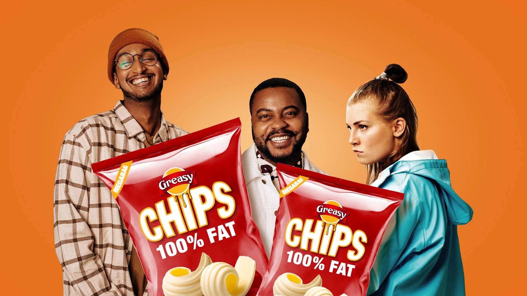 100% fat crisps for Linkosuo's campaign.