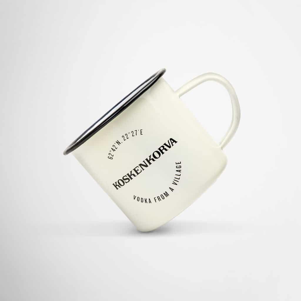 Branded enamel mugs for Koskenkorva Vodka by Framme