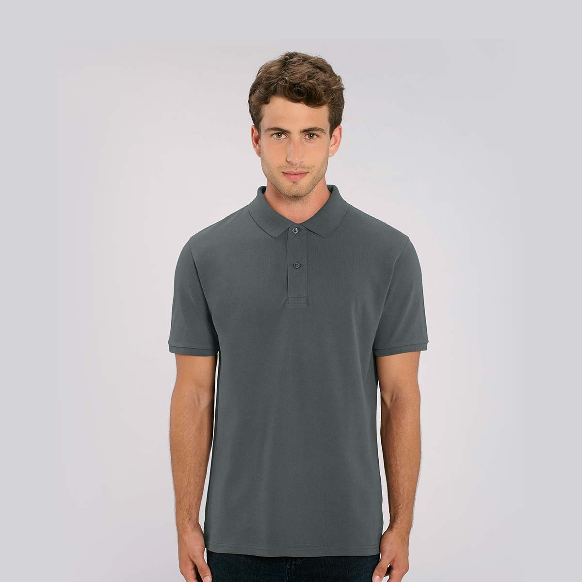 Men's branded organic cotton polo shirts by Framme and Stanley/Stella