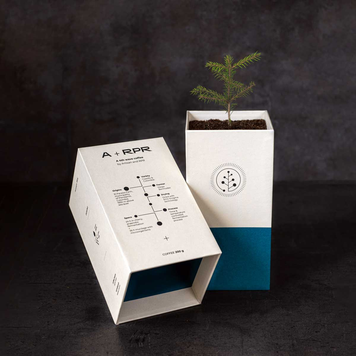 Custom made compostable coffee packaging that will turn into a pine tree by Framme