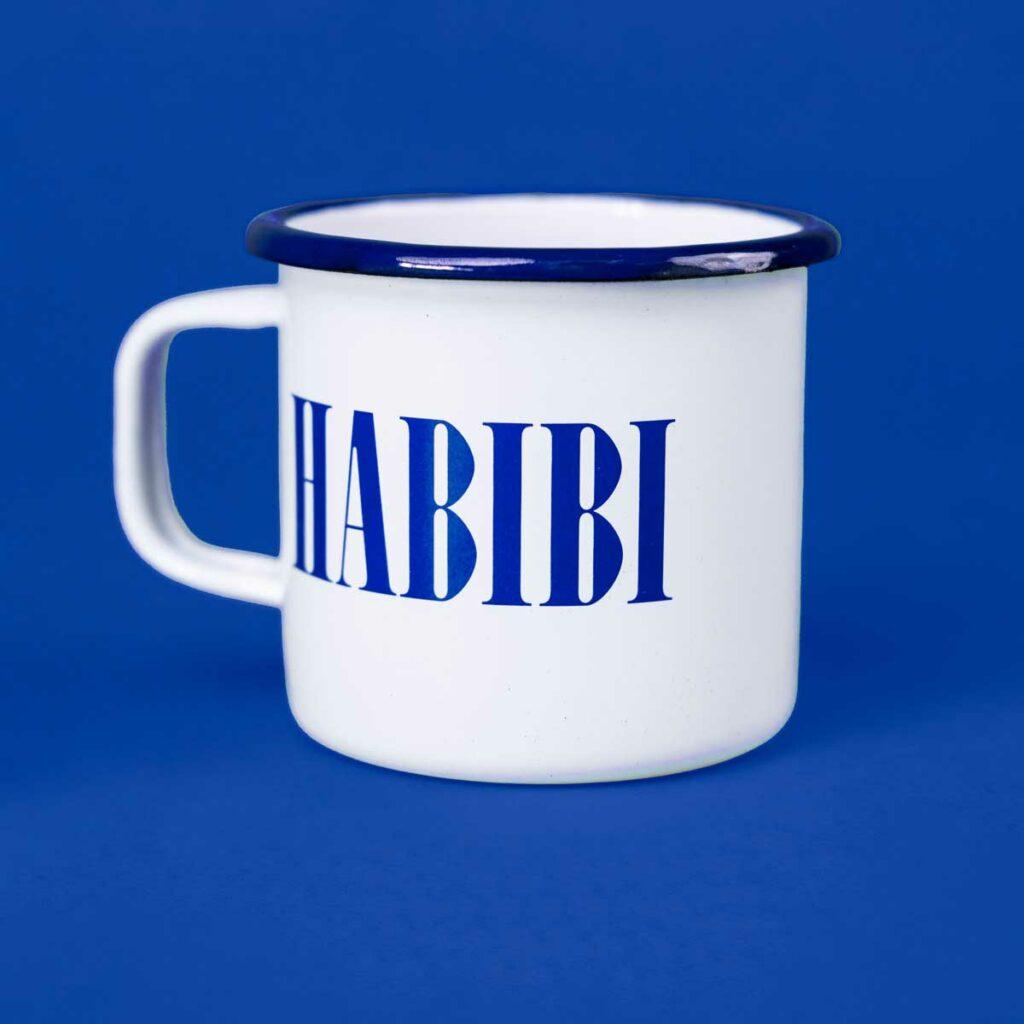 Branded enamel mugs for Habibi by Framme