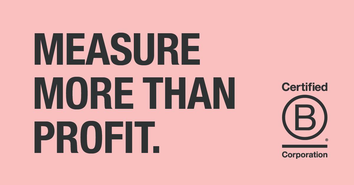 B-Corp banner: Measure more than profit